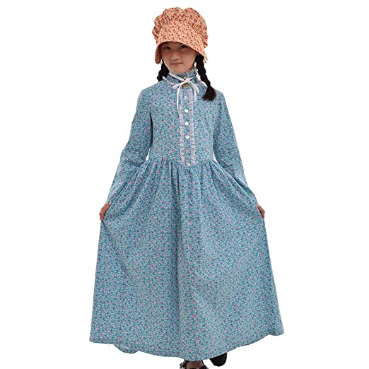 Victorian Kids Costumes & Shoes- Girls, Boys, Baby, Toddler  Pioneer Prairie Colonial Girl Costume 100% Cotton $43.77 AT vintagedancer.com