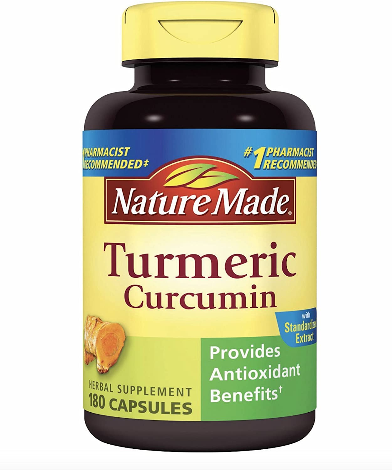Nature Made Turmeric Curcumin 500 milligram. Capsules Antioxidant Value Size 180 Ct