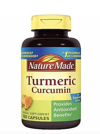 Nature Made Turmeric Curcumin 500 milligram. Capsules Antioxidant Value Size 180 Ct