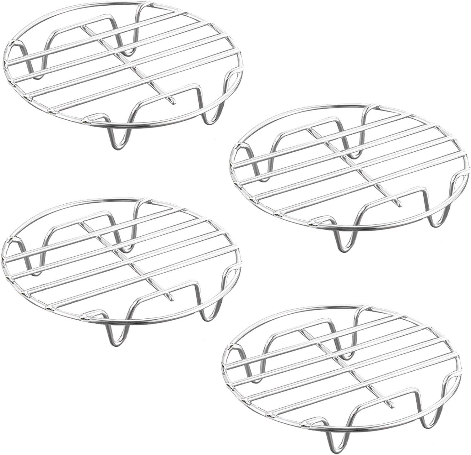 HILELIFE Stainless Steel Cooling Rack - 4 Pcs 7 in Round Cooking Rack Steamer Rack Multipurpose Drying Baking Rack for Stock Pot, Pressure Cooker, Steamer, Canning, Pan and Oven: Kitchen & Dining