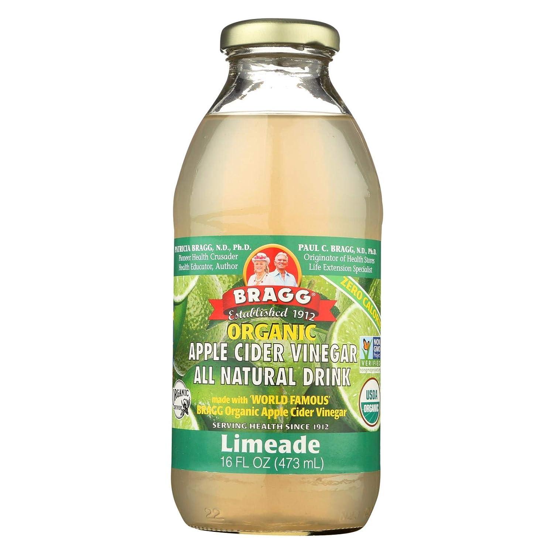 Bragg Organic Apple Cider Vinegar Limeade, 16 Ounce - 12 Per Case.