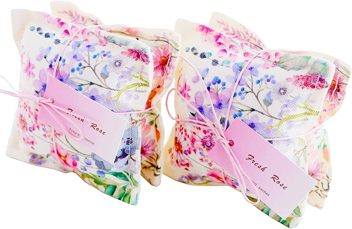 Aucuda Sachet Bags Scented Sachets for Closets and Drawers Fresh Rose Scent, Lot of 4, Great Gift