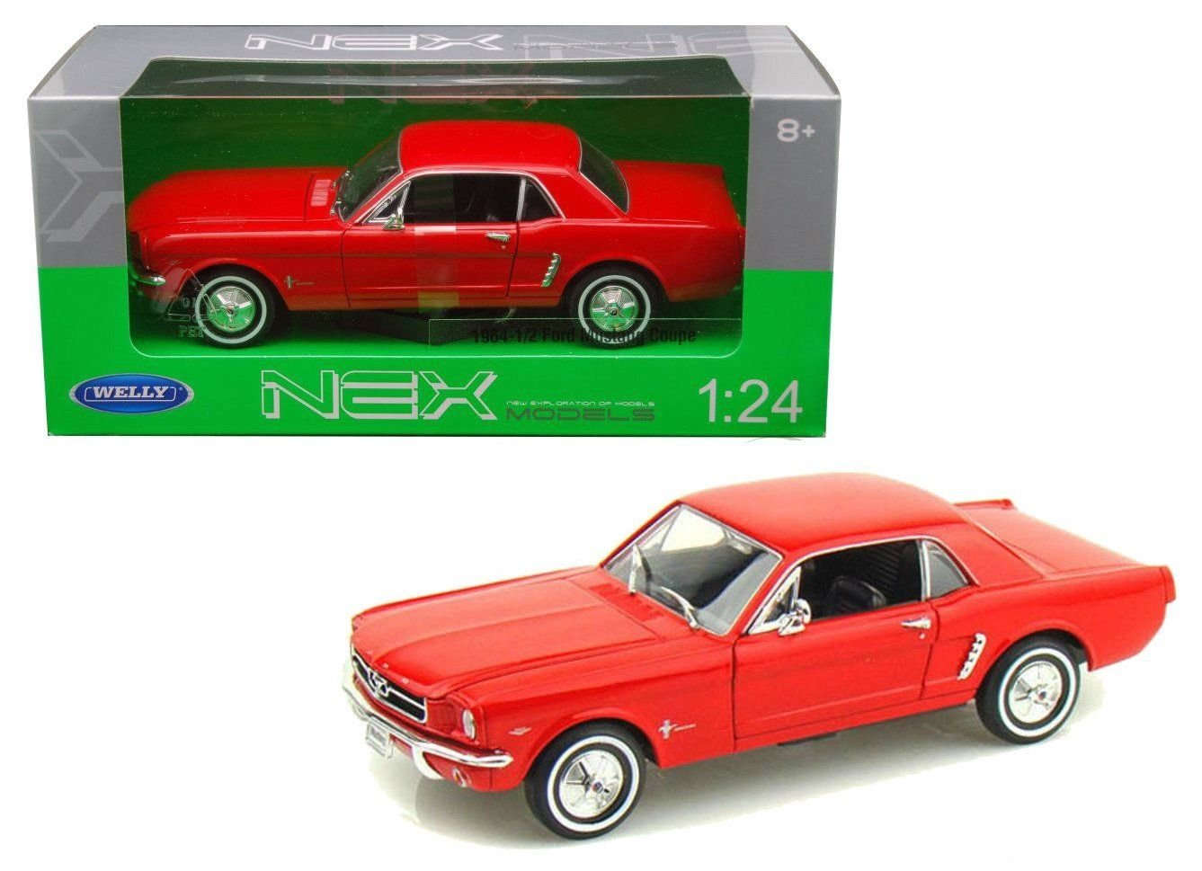 New 1 24 W B WELLY COLLECTION RED 1964 1 2 FORD MUSTANG HARD TOP Diecast Model Car By Welly