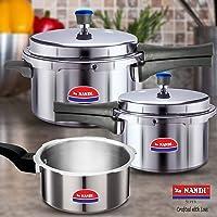 Nandi Super Cooker Combo 2L, 3L and 5L, Non-Induction Base, Aluminium