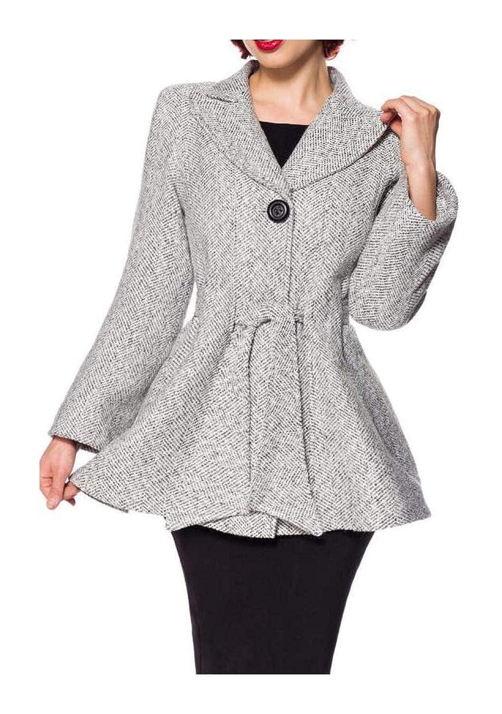 Belsira Damen Vintage Jacke mit Gürtel: : Bekleidung