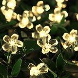 Solar Lichterkette, InnooTech LED Solar Blumen Lichterkette 5 Meter 50er Warmweiß, Außerlichterkette Deko mit 2 M Zuleitungskabel für Garten, Hochzeit, Party usw …