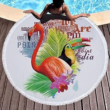 Tropical Flamingo hojas Toalla de playa grande redondo microfibra toalla de playa hippie boho playa manta Picnic pared Alfombra para yoga (150 cm 3: ...