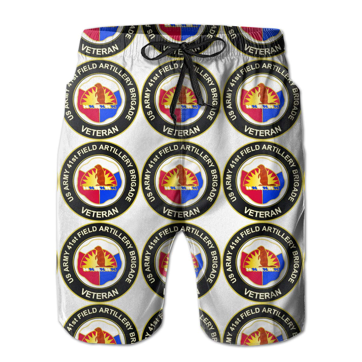 U.S Army 41st Field Artillery Brigade Unit Crest Veteran Mens Swim Trunks Bathing Suit Beach Shorts