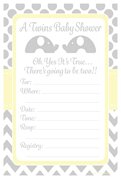 Amazon Com Twins Baby Shower Invitations Elephant Design Party