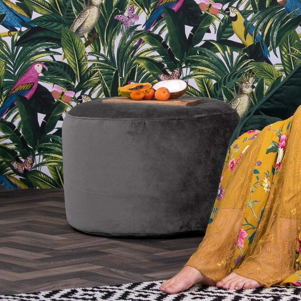 icon Milano Doppio Velvet Bean Bag Pouffe, Large Velvet Ottoman, Living Room Bedroom Footstool Bean Bags Charcoal Grey