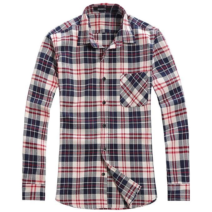 d806c6a0e212f OCHENTA Men s Long Sleeve Plaid Flannel Shirt N004 Blue White UK Size S  (Label Size