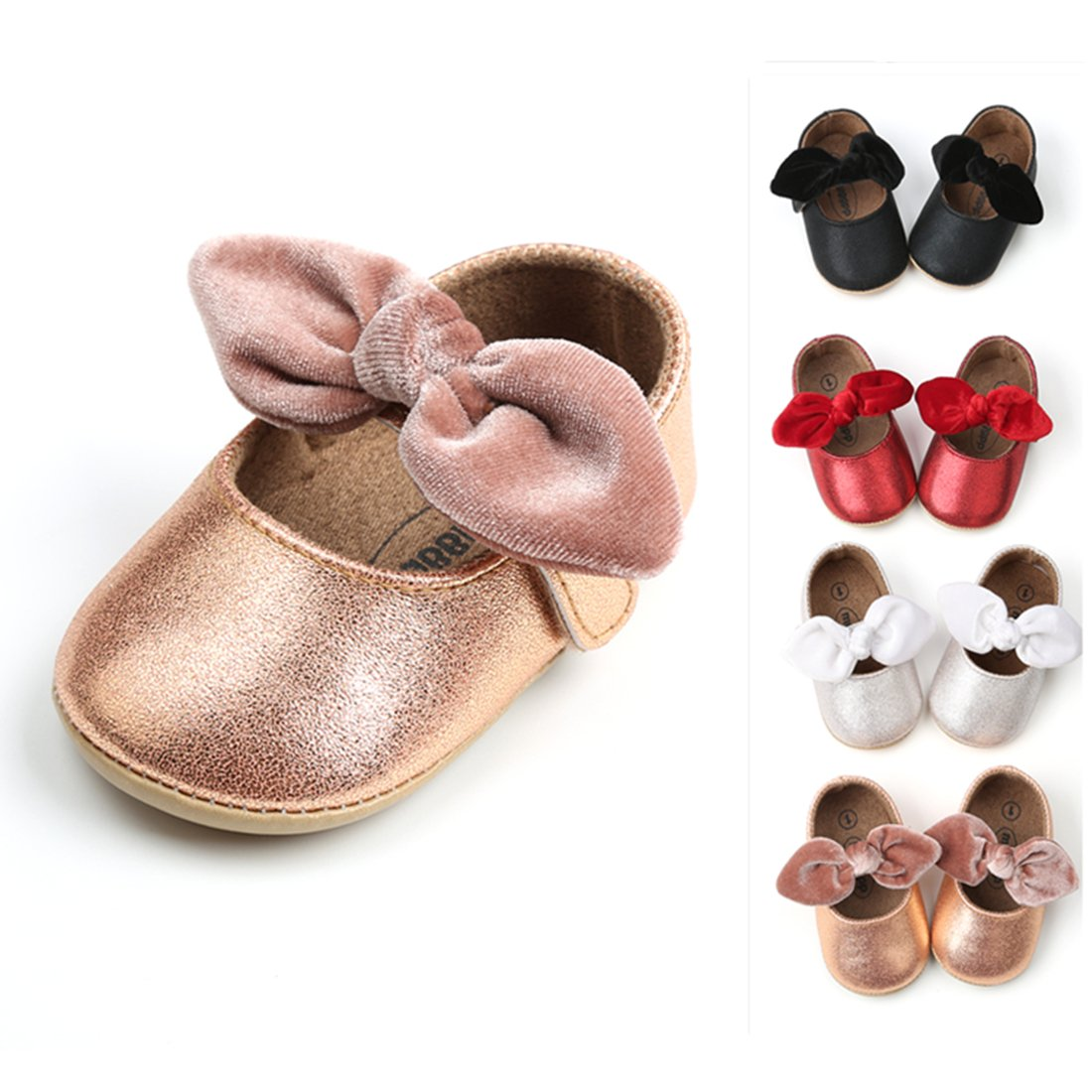 RVROVIC Baby Girls Mary Jane Flats Anti-Slip Rubber Sole Bow Toddler Princess Dress Shoes