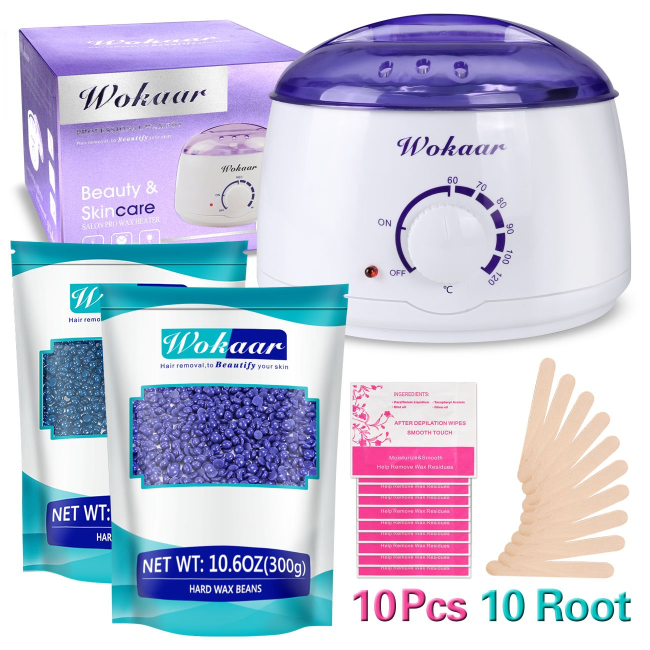 WOKAAR Wax Kit Wax Heater Electric Wax Warmer Hair Removal Waxing Kit Rapid Melt with 600g Wax Beans & 10 Wax Applicator Sticks & 10 Wax Remove Paper
