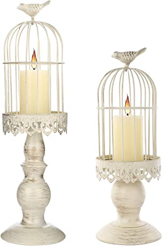SMEL 2pcs Birdcage Candle Holders Vintage Creative Decorations Excellent Carved Iron Candlesticks Centerpiece