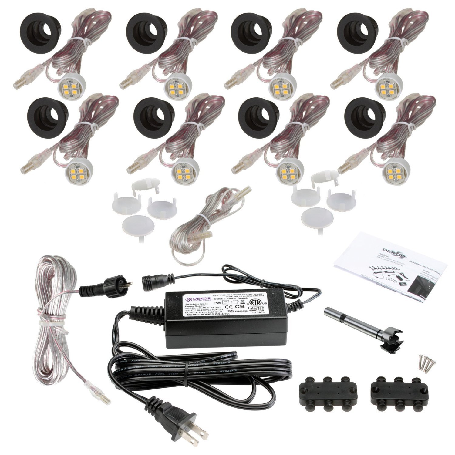 Indoor LED Recessed Down Light Kit - 8 LED Lights - Oil Rubbed Bronze