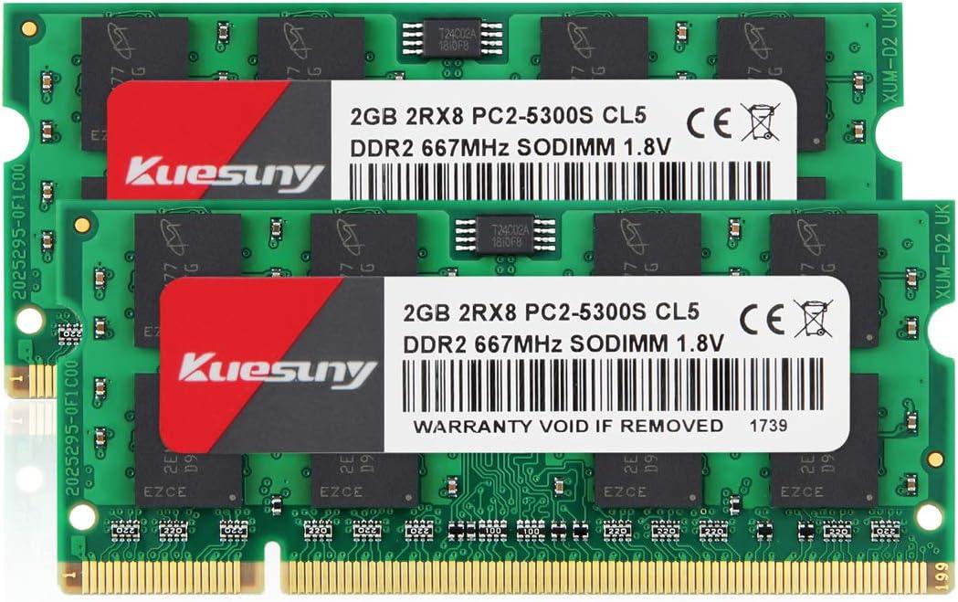 4GB Kit (2GBX2) DDR2 667 sodimm RAM, Kuesuny PC2-5300 / PC2-5300S CL5 200-Pin Non-ECC Unbuffered Notebook Laptop Memory Modules