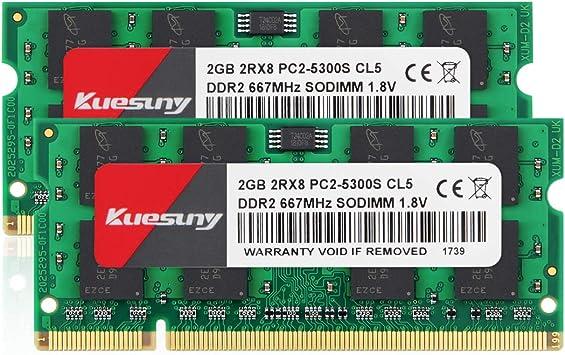 Kuesuny 4 Gb Kit Ddr2 667 Mhz Sodimm Ram Pc2 5300 Computer Zubehör
