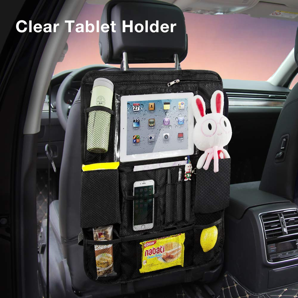 QUEES Car Backseat Organizer with Touch Screen Tablet Holder + 14 Storage Pockets Kick Mats Car Seat Back Protectors Great Travel Accessories for Kids and Toddlers 2 Pack