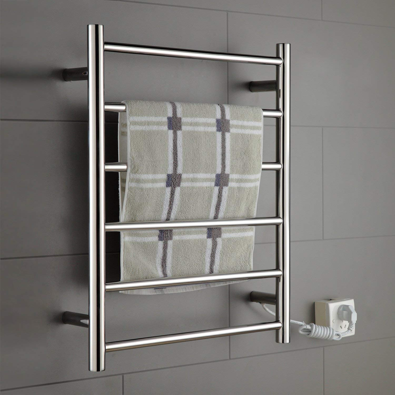 Towel Warmer Stainless Steel 6 Bar Radiant Plug-In 70W Energy Saving Mirror Polished Drying/Wall Mount Towel Rack Lavatory Bath Shower Improvement