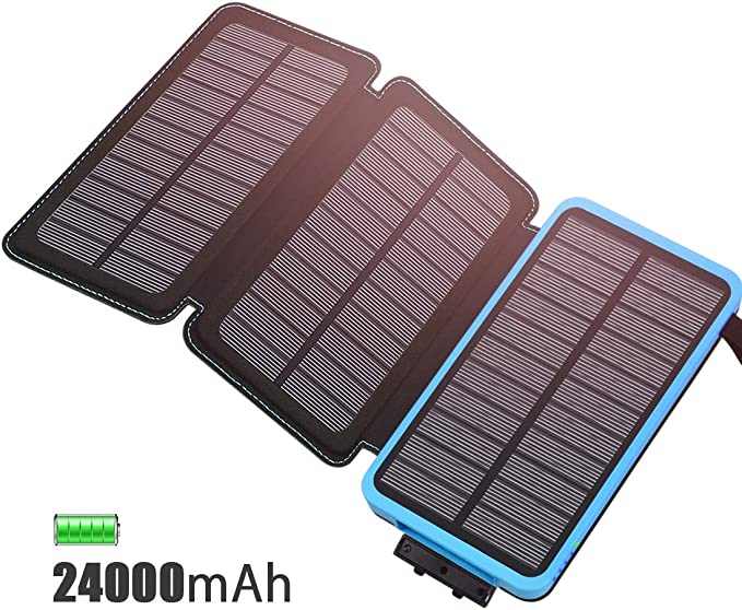 FEELLE Solar Charger 24000mAh Solar Power Bank with 3 Solar