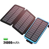 Cargador Solar 24000 mAh Batería Externa, Feelle Power bank Portátil con 3 Paneles Solares, 2 Puertos de USB ( 5V/2.1A*2) Cargador de Teléfono para iphone, Android, Tablet, Cámara, y Otros Dispositivos (Azul 24000mAh)