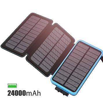 FEELLE Cargador Solar 24000mAh Batería Externa, Power Bank Portátil con 3 Paneles Solares USB 2.1A Output para Android Phones,Tablet, Smartphones, ...