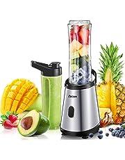 Decen Blender, Smoothie Maker, Smoothie Blender with 2*600 ml BPA Free Travel Bottles, Mini Blender for Juice, Milkshake and Smoothie, 300W, Silver