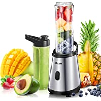 Smoothie Blenders, Decen Personal Blender Smoothie Maker with 2*600 ml BPA-Free Travel Sport Bottles & 4 Stainless Steel Blades, Mini Blender for Juice, Milkshake and Smoothie, 300W, Silver