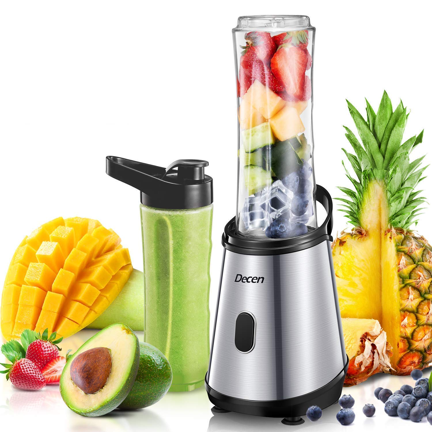 Personal Blender, Decen Smoothies Blender, Single Serve Blender for Smoothies and Shakes with 2 x 20 oz Tritan BPA-Free Travel Sports Bottle, 300W