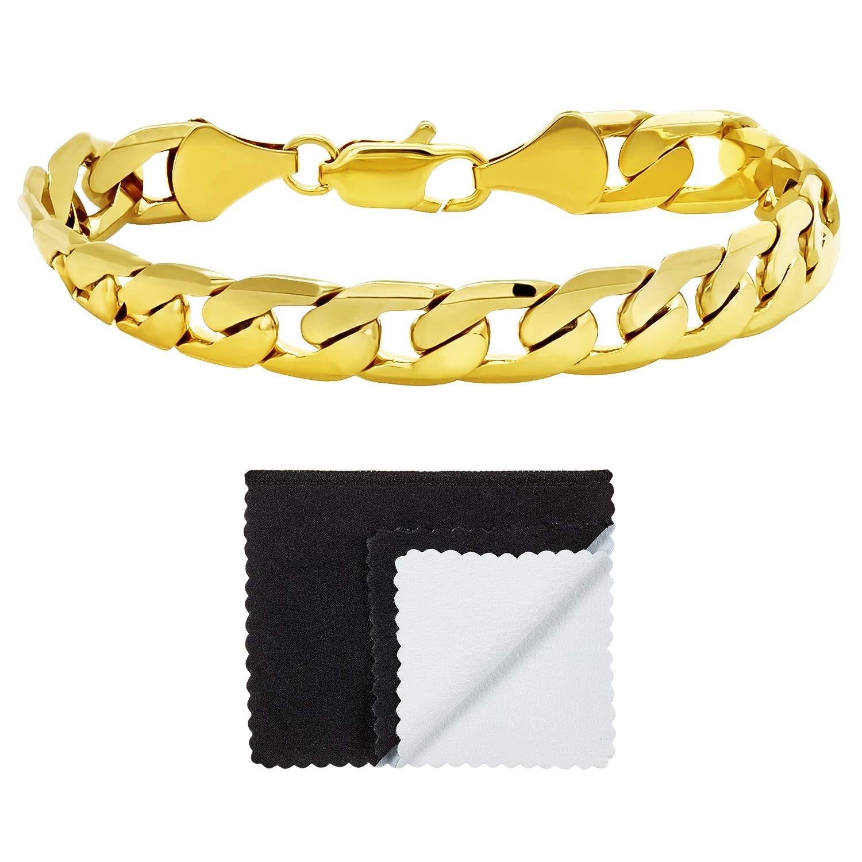 The Bling Factory 9.5mm 14k Yellow Gold Plated Flat Edged Cuban Curb Flat Link Bracelet Jewelry Polishing Cloth GFC113B/_9 Microfiber Jewelry Polishing Cloth 9