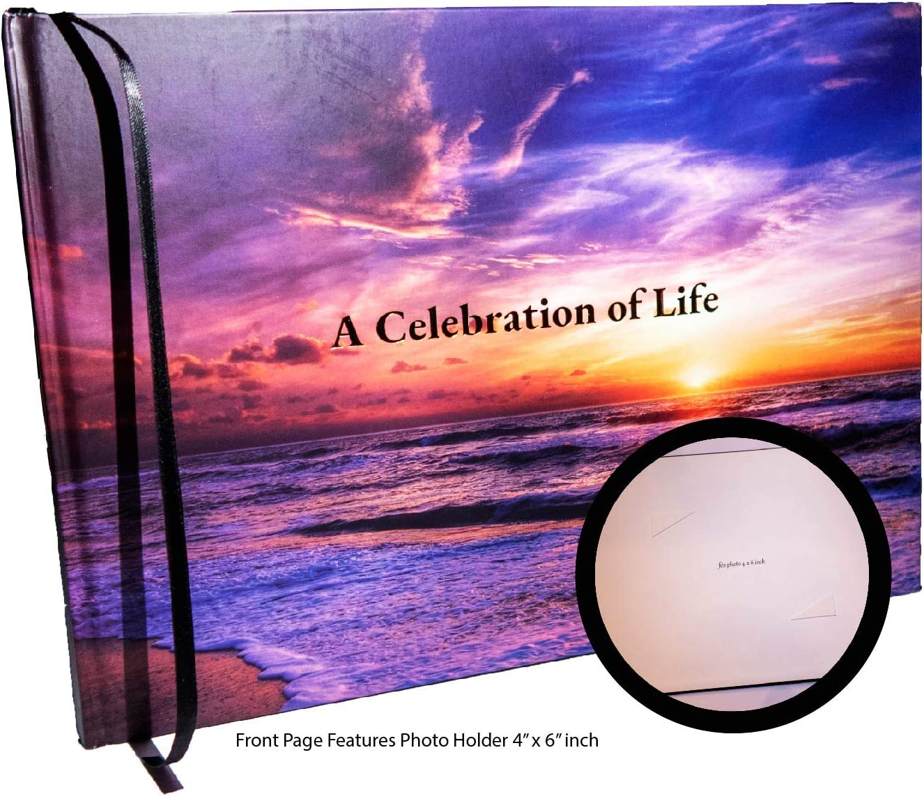 LifeToo Funeral Guest Book   Memorial Guest Book - Hardcover :A Celebration of Life   Spine: in Loving Memory   Ocean Sunset Theme w/ 4 x 6 inch Photo Pocket