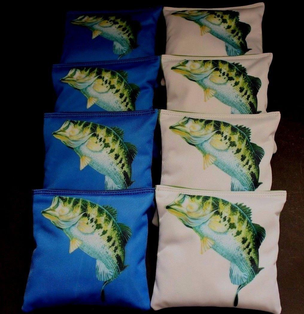 BackYardGamesUSA Fish Large Mouth BASS Trout Outdoor Men 8 ACA Regulation Cornhole Bean Bags B152
