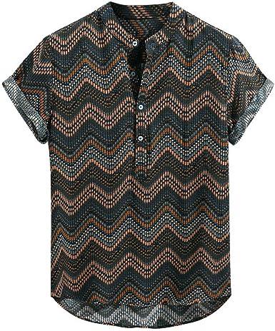 Hombre Camisetas de Manga Corta de Rayas Básico Camisas de Botones Tallas Grandes Retro Casual Henley Camisa de Hawaiana Suelta Transpirable Cómodo Top Blusa de Playa Dobladillo Irregular Gusspower: Amazon.es: Ropa y