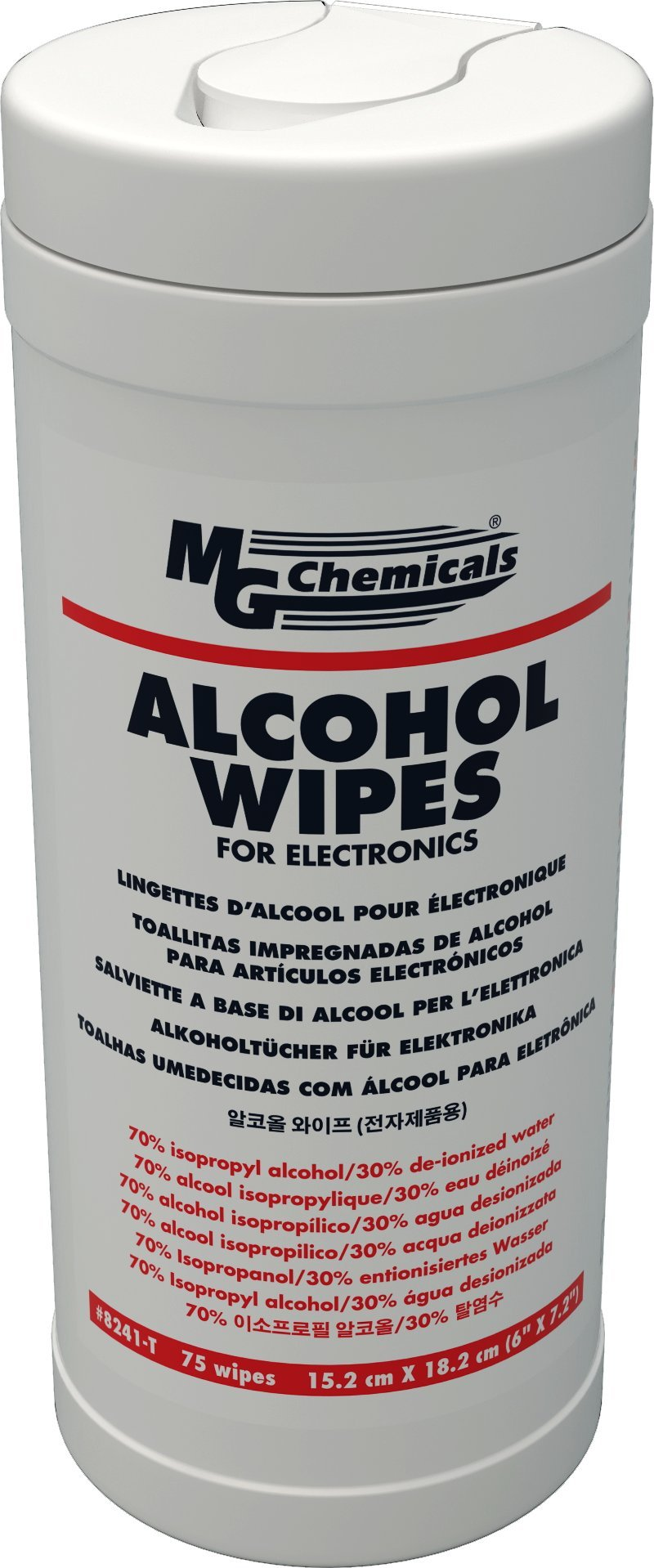 MG Chemicals Alcohol Wipes (70% IPA), 7'' x 6'' (Tub of 75)
