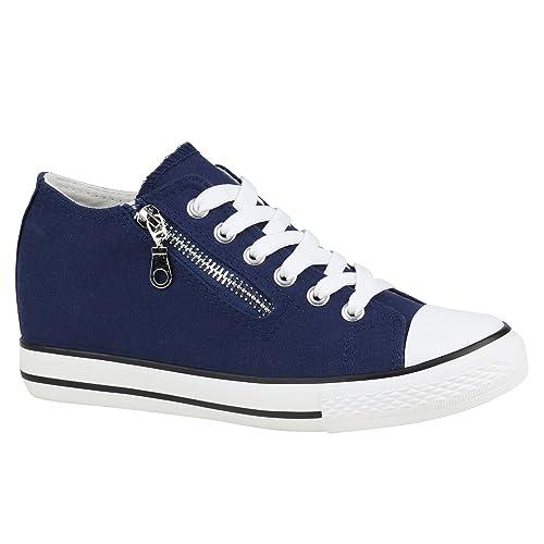 Mit Damen Glitzer Flandell Keilabsatz Sneaker Wedges Stiefelparadies Zipper c3KFTJu1l5