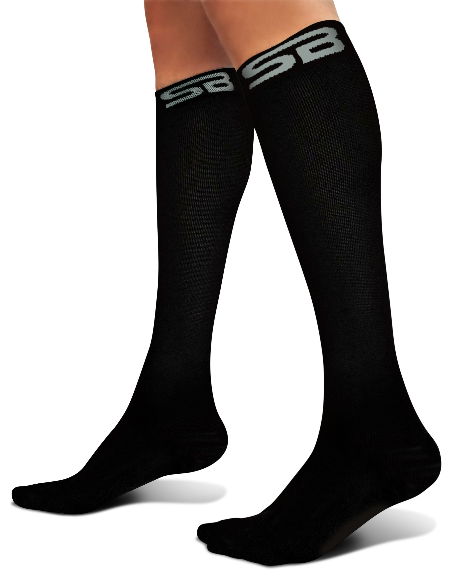 SB SOX Compression Socks (20-30mmHg) for Men & Women - Best Stockings for Running, Medical, Athletic, Edema, Diabetic, Varicose Veins, Travel, Pregnancy, Shin Splints (Solid - Black, X-Large)