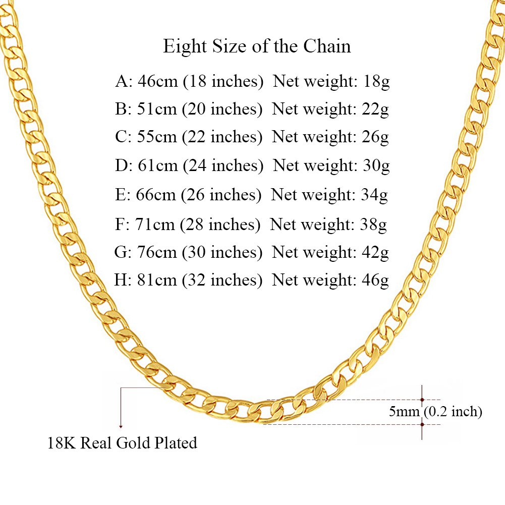 57e3d0674e6d4 MMTTAO 18K Gold Plated Mens Cuban Curb/Figaro/Snake Chain Link Necklace for  Pendant Men Women 5MM/6MM Wide Hip Hop Hiphop Men's Fashion Jewelry Gifts  ...