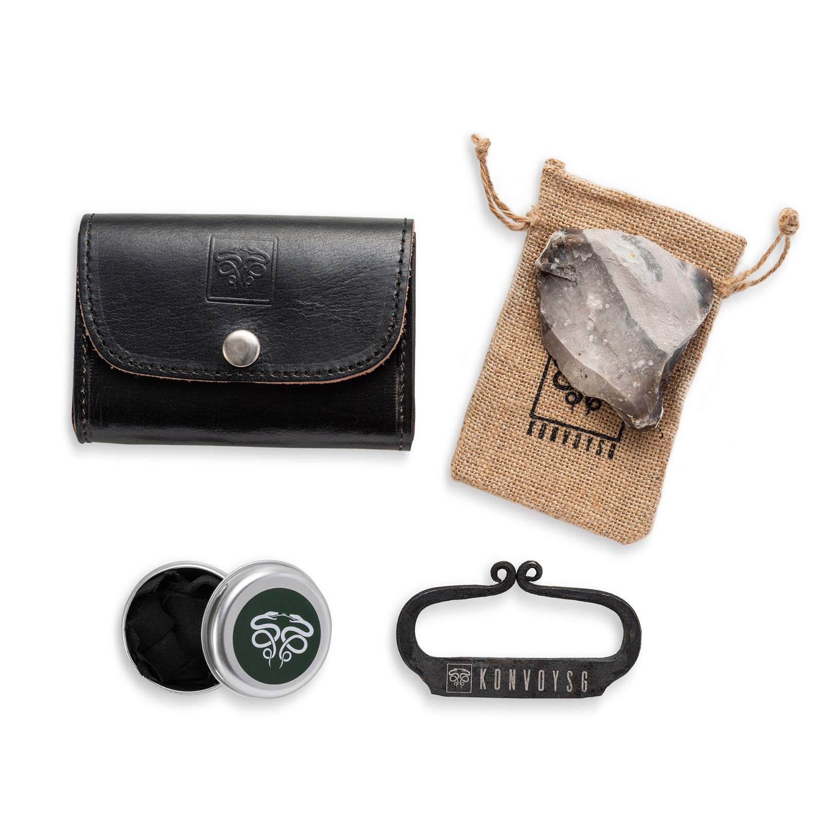 KonvoySG Flint and Steel Kit. Fire Striker, English Flint Stone & Char Cloth Traditional Hand Forged Fire Starter with a Leather Gift Pouch and Emergency Tinder Jute Bag (Black)
