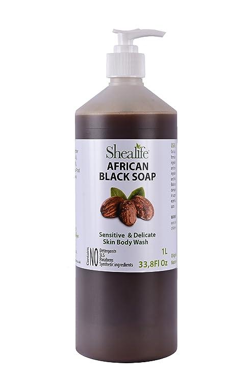 Organic africana negro jabón líquido, familypack, 1 L, sin perfume fabricado con manteca de karité sin refinar, cacao Pod de fresno, & Aceite De Coco ...