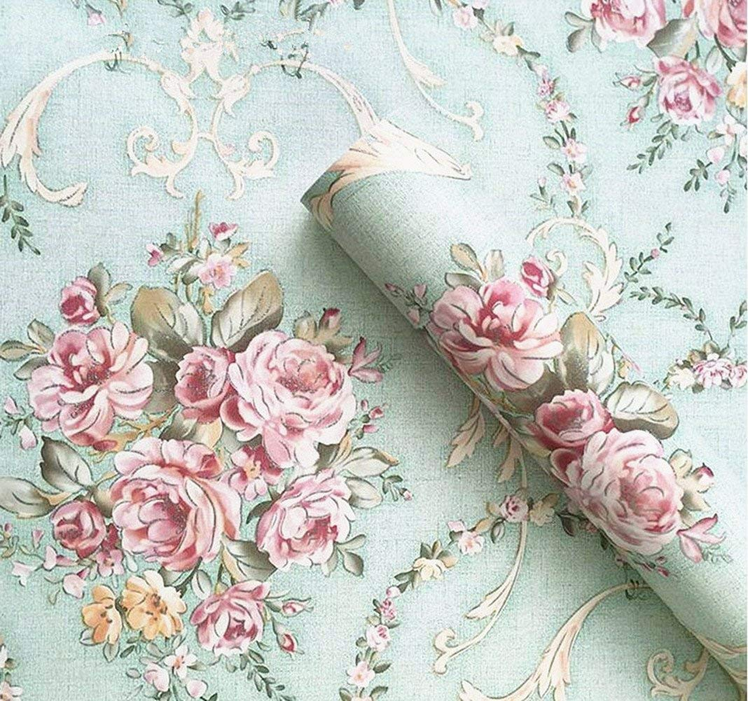 UPREDO Vintage Light Green Rural Rose Adhesive Paper Shelf Liner Funitures Dresser Drawer Cabinet Decor 17.7 Inch by 100 Inch