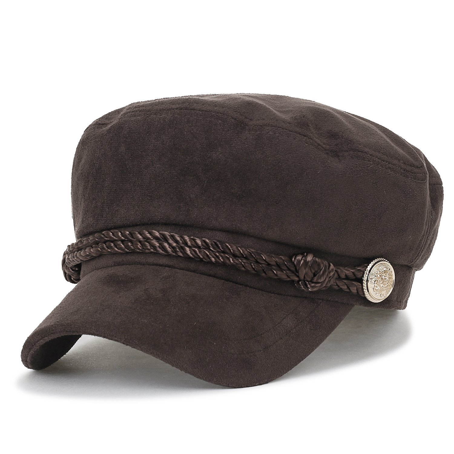 ililily Solid Color Suede Like Flat Top Newsboy Cap Duck Bill Flat Hunting Hat, Dark Brown