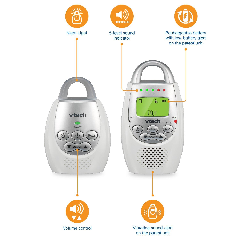 VTech DM221 Audio Baby Monitor with up to 1,000 ft of Range, Vibrating Sound-Alert, Talk Back Intercom & Night Light Loop by VTech (Image #6)