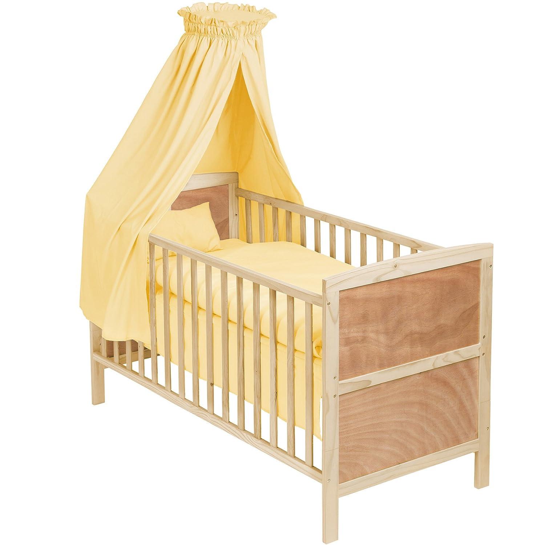 Tectake® babybett komplettset mit himmel 3in1 gelb: amazon.de: baby
