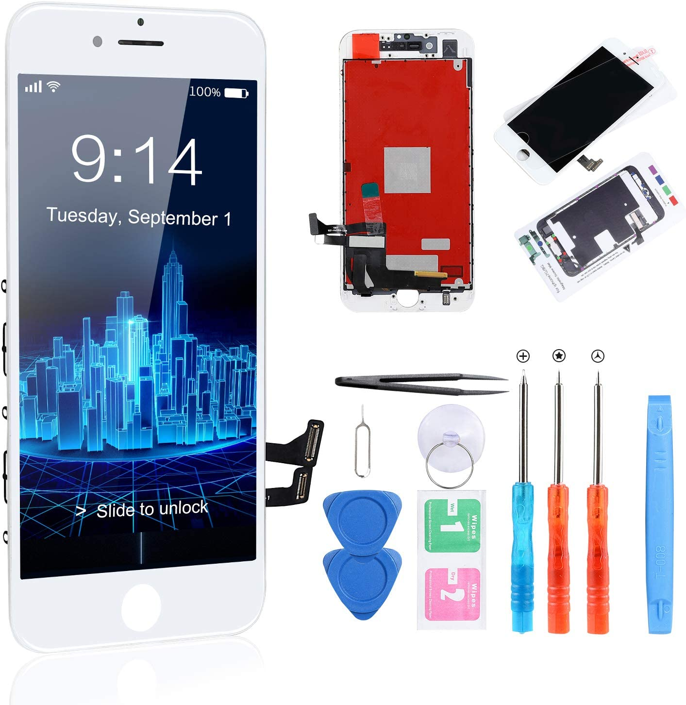 """CYKJGS for iPhone 8 Screen Replacement White LCD Screen Digitizer 3D Touch 4.7"""" Display iphone 8 Screen Repair Kit with Tempered Glass + Full Tools for A1863, A1905, A1906"""
