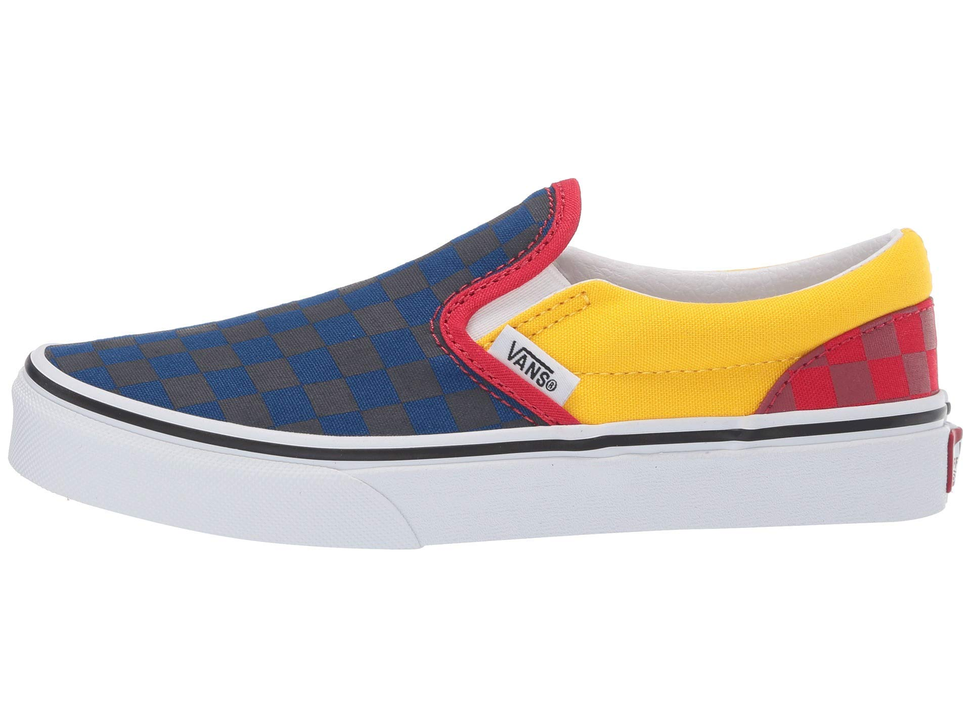Vans Boy's Classic Slip On Skate Shoes (2.5 M US Little Kid, (OTW Rally) Navy/Yellow/Red)