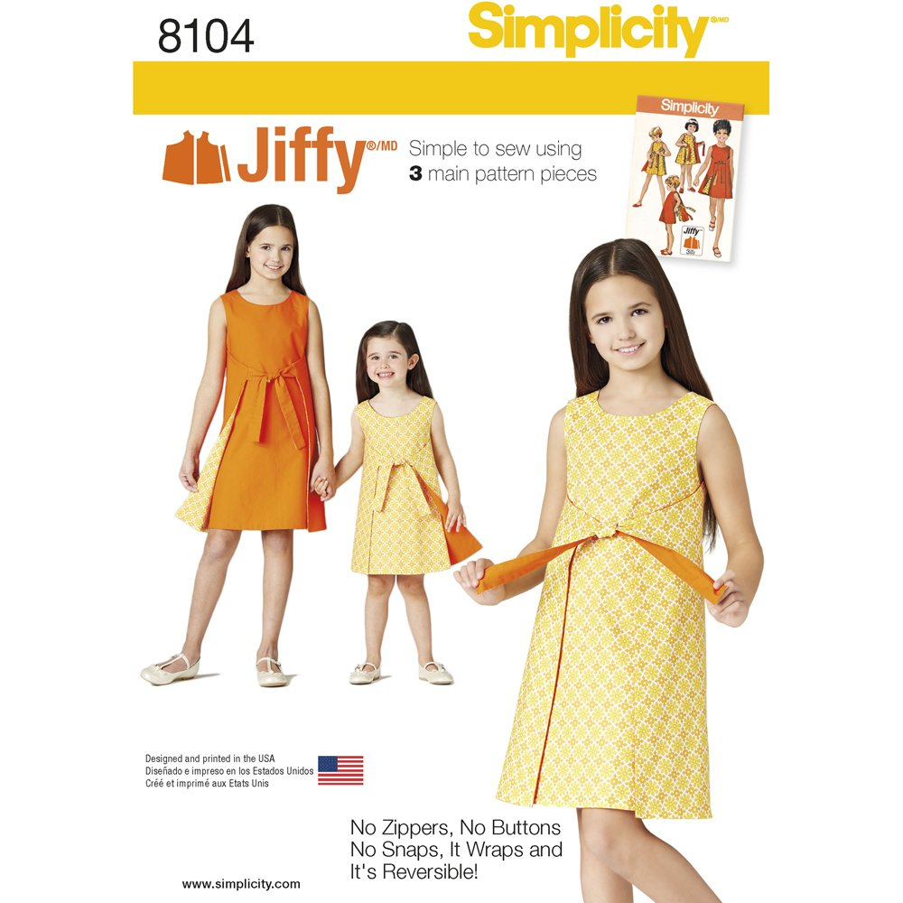 Amazon.com: Simplicity Creative Patterns Simplicity Patterns Childs and Girls Jiffy Reversible Wrap Dress Size: HH (3-4-5-6))), 8104