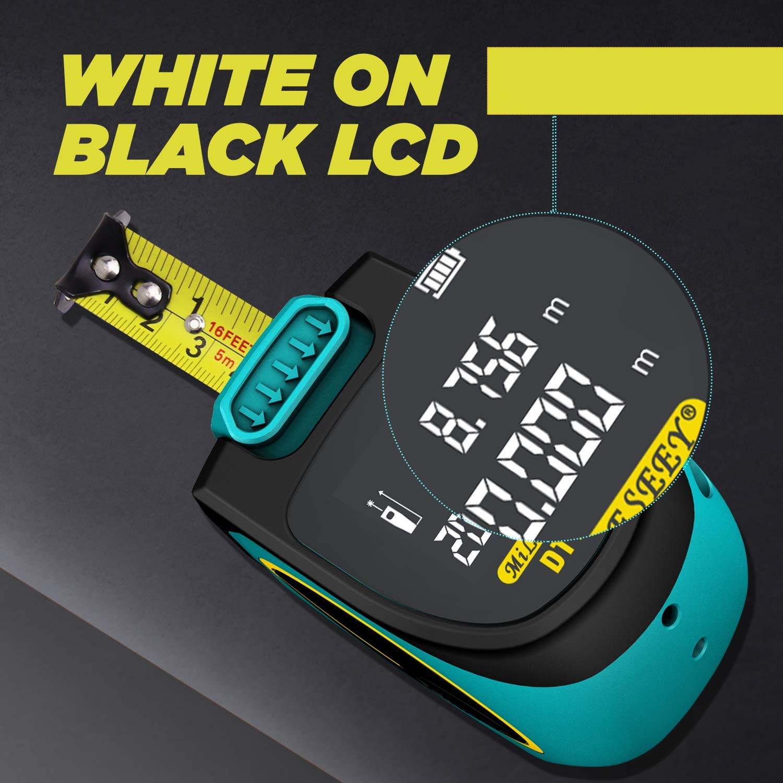 con Bater/ía Recargable y Pantalla LCD Grande 197Pies Mileseey Cinta M/étrica L/áser de 60M