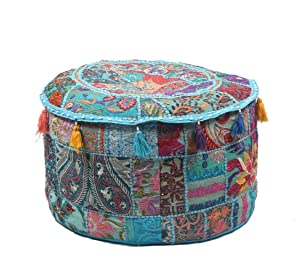 "GANESHAM Indian Hippie Vintage Cotton Floor Pillow & Cushion Patchwork Bean Bag Chair Cover Boho Bohemian Hand Embroidered Handmade Pouf Ottoman (Turquoise, 13"" H x 18"" Diam.(inch))"