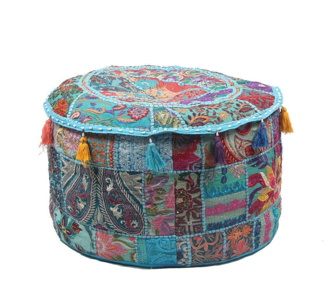 GANESHAM Indian Home Decor Hippie Patchwork Bean Bag Chair Cover Boho Bohemian Hand Embroidered Ethnic Handmade Pouf Ottoman Vintage Cotton Floor Pillow & Cushion (22 inch dia.)