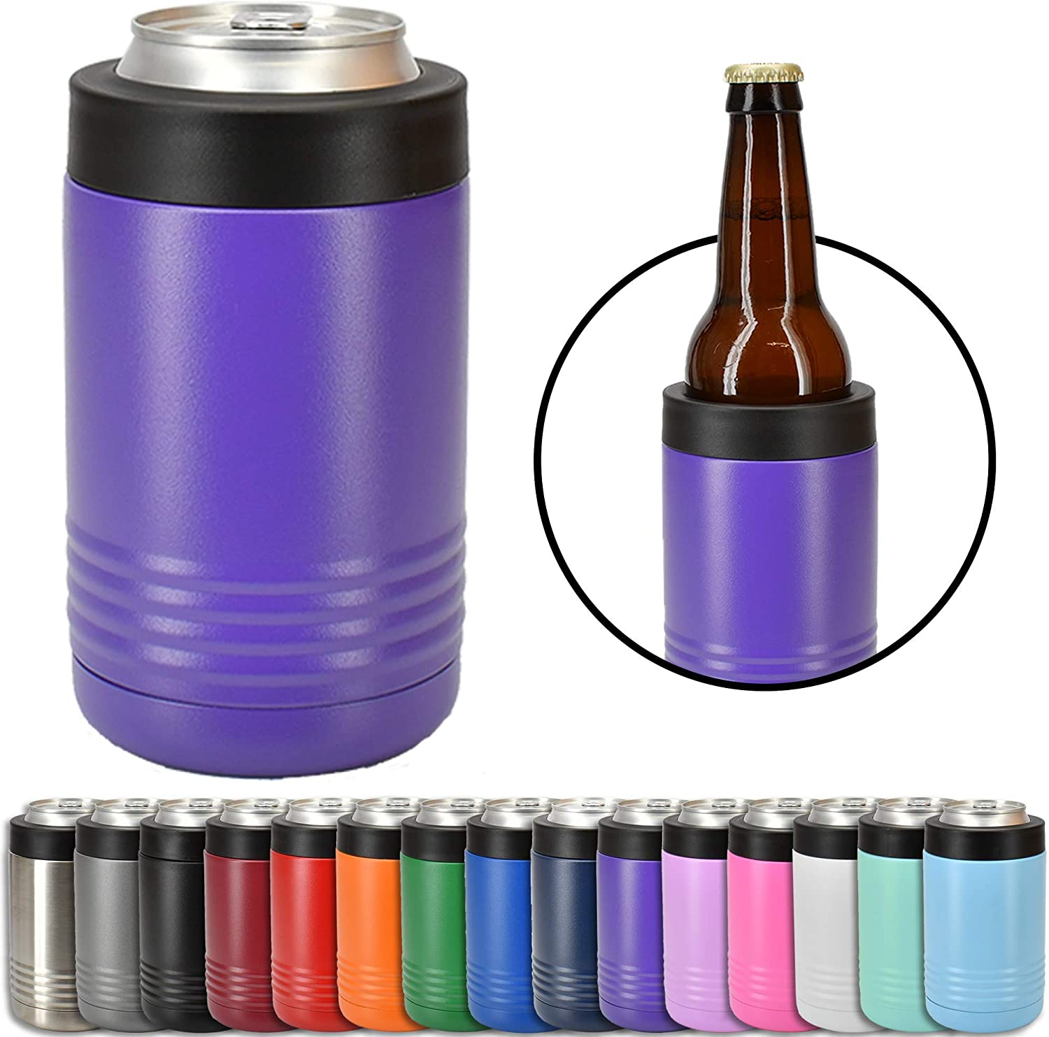Clear Water Home Goods - 12 oz Stainless Steel Double Wall Vacuum Insulated Can or Bottle Cooler Keeps Beverage Cold for Hours - Powder Coated Purple